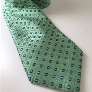 Nautica mens Woven neck tie green/blue Squares